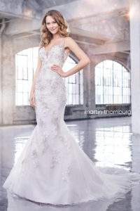 fitted martin thorn burg wedding dress strapless and lace