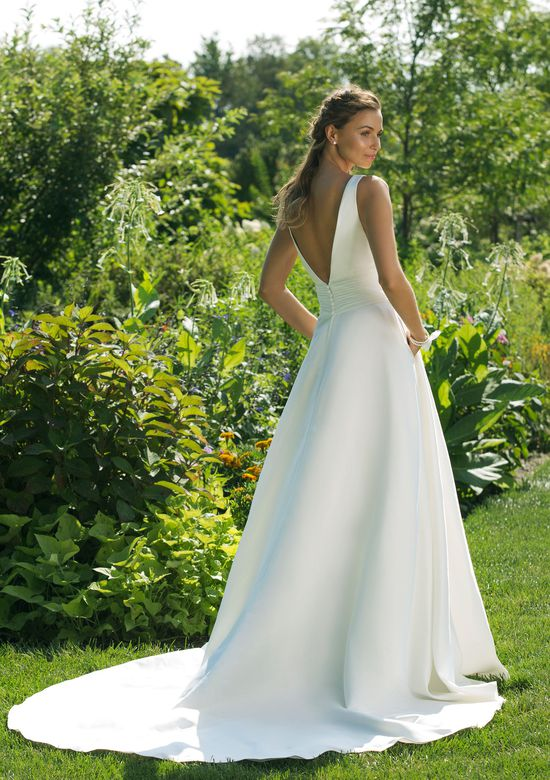 Low V-Back A-line Gown with Pleated Waistband
