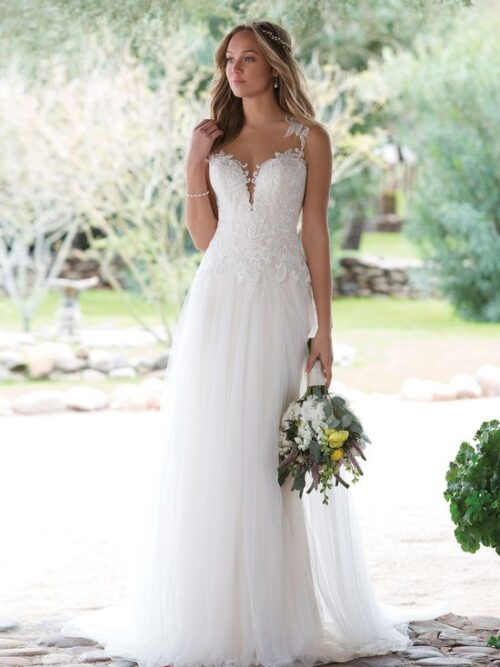 Illusion Plunging A-Line Gown