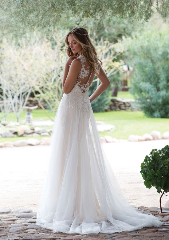 Illusion Plunging A-Line Gown Back
