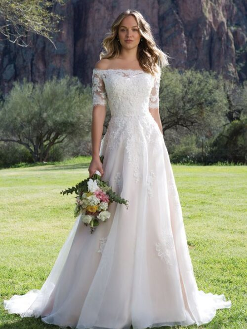 Beaded lace and organza a-line wedding dress