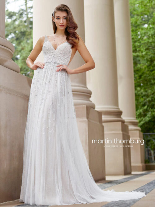 A line wedding dress romantic and soft beaded dress for bride