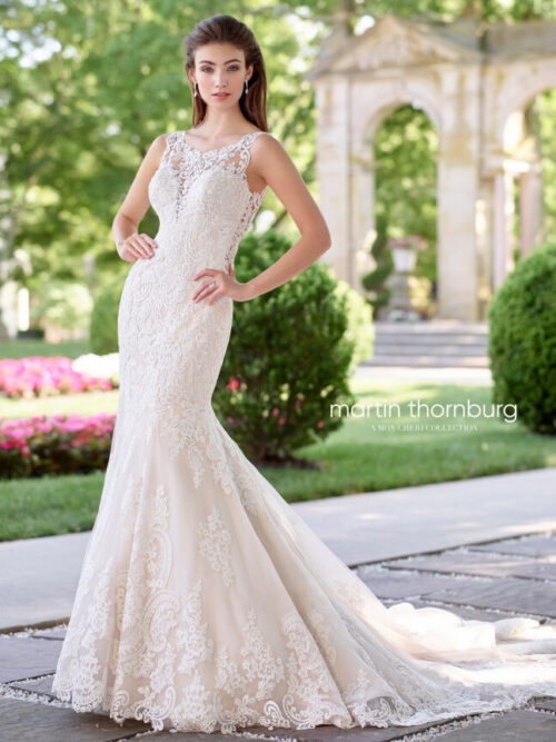 lace wedding dress fit and flare mermaid style train wedding dress