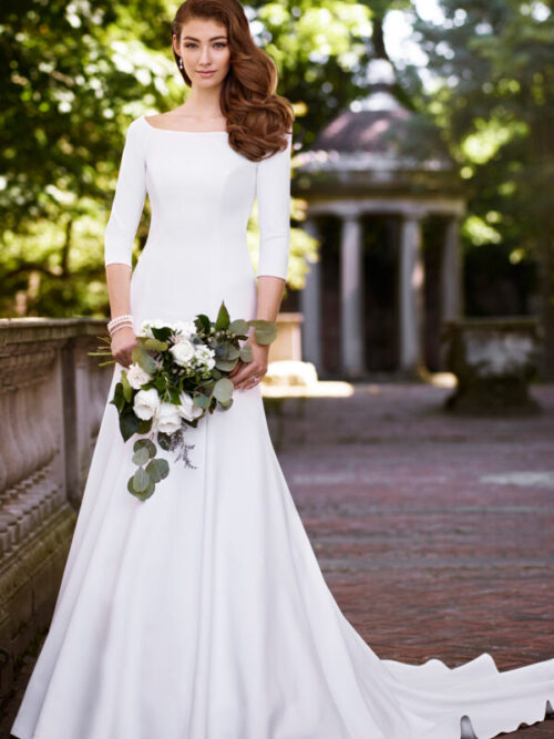 Crepe three quarter sleeve wedding dress modest bride plus size bride