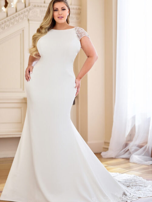 crepe wedding dress with full lace train