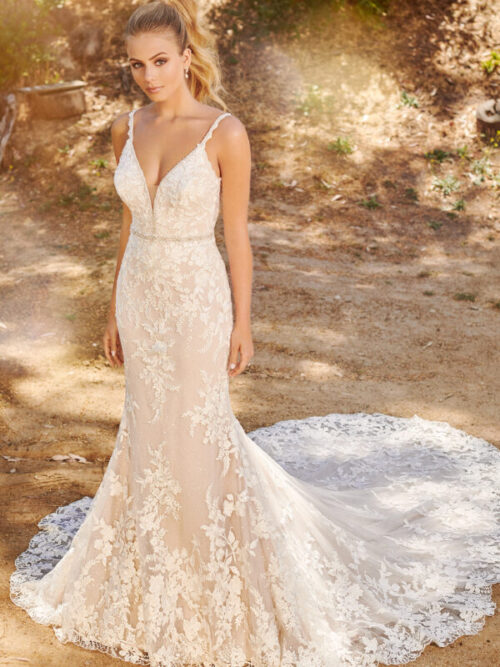 lace low back wedding dress fit and flare gown with belt