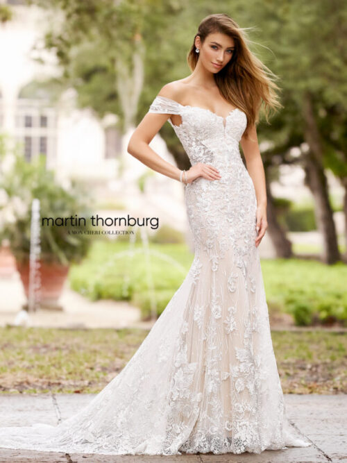 full lace off the shoulder deep v wedding dress