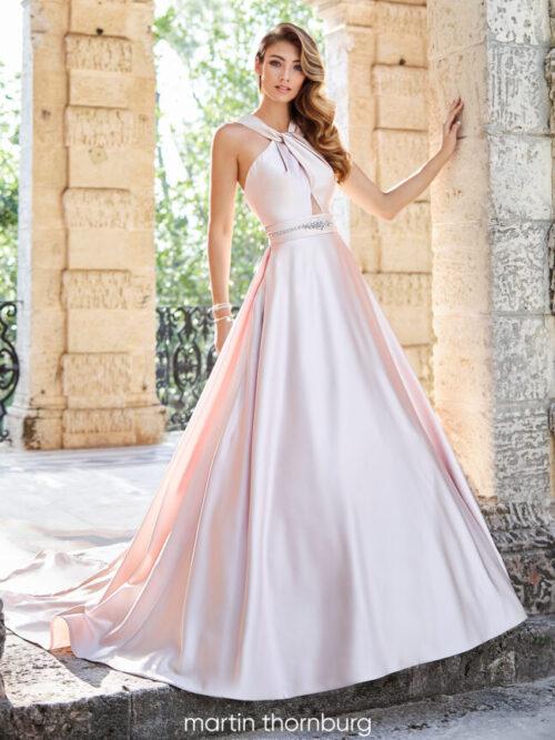 modern satin ball gown with cross front wedding dress