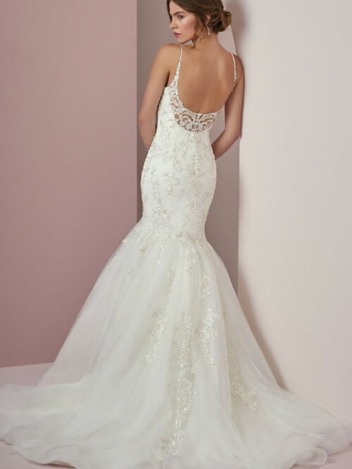wedding dress, mermaid, beaded lace, lace, beading, beaded straps, low back, rebecca ingram