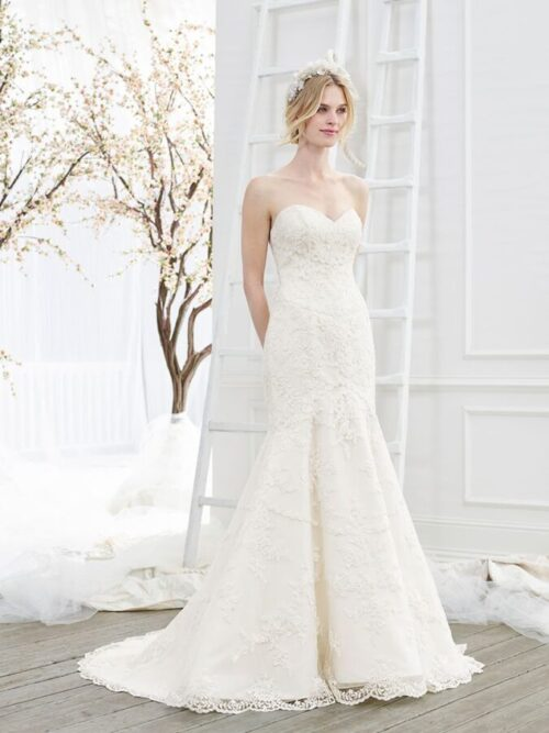 Strapless fitted lace wedding dress