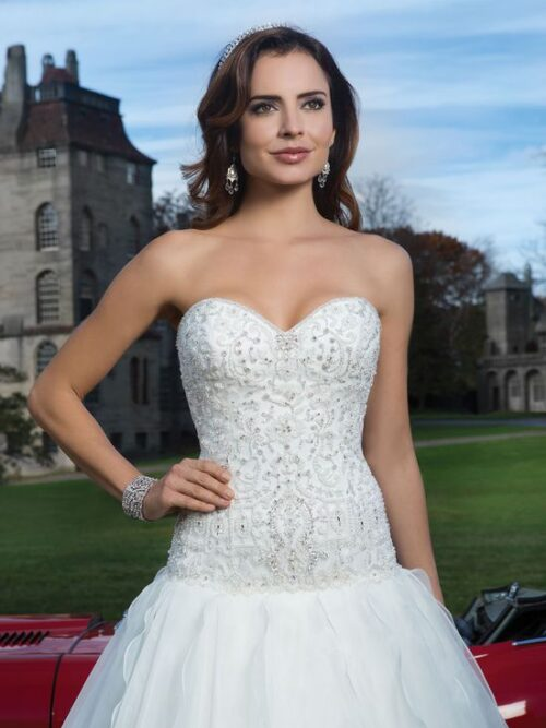 Strapless, organza, drop waist beaded ballgown wedding dress