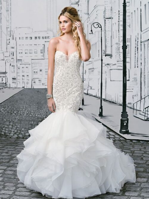 Mermaid beaded lace and organza wedding dress
