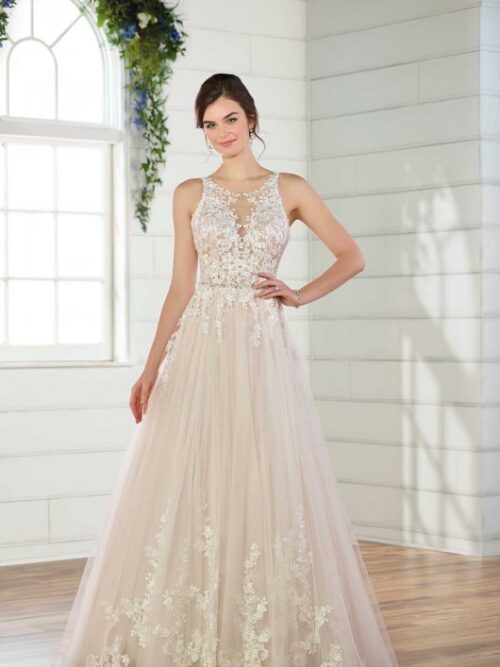 Sequin lace and tulle a-line wedding dress