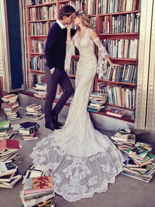 Allover fitted lace wedding dress