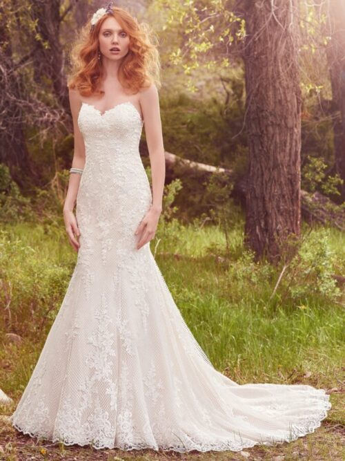 Strapless allover lace fitted wedding dress