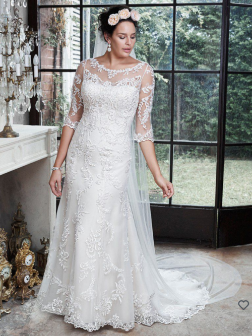 Beaded allover lace wedding dress