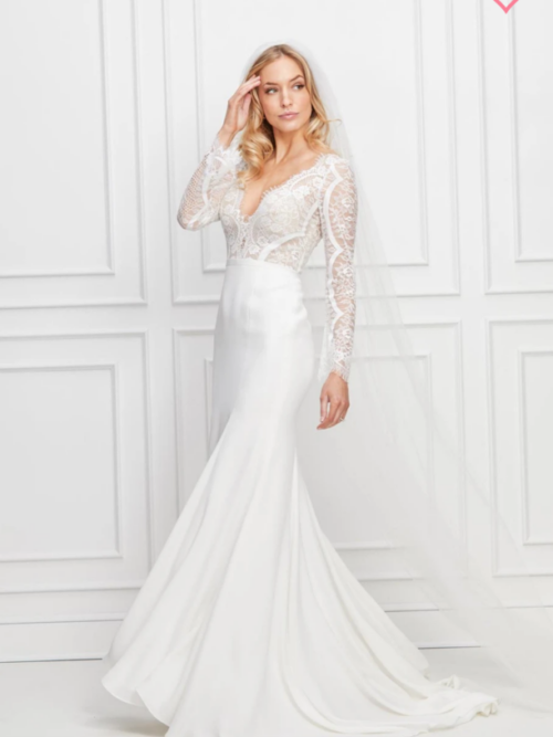 Fitted, beaded lace and crepe wedding dress