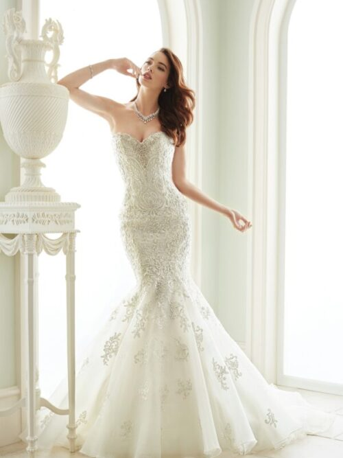 Beaded lace mermaid wedding dress