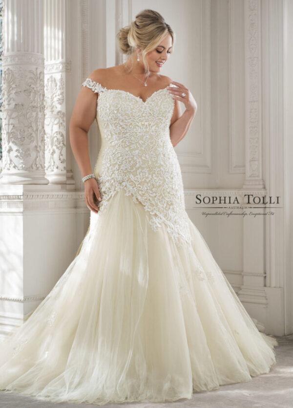 fitted wedding dress Sophia tolli lace wedding dress