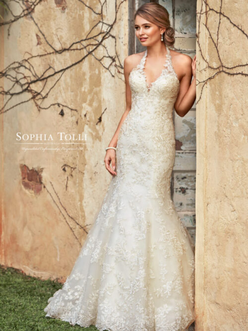 Sophia Tolli fitted lace fit and flare wedding dress black dress