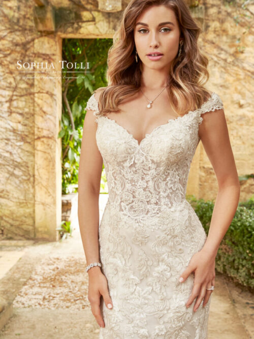 lace off the shoulder wedding dress fit and flare