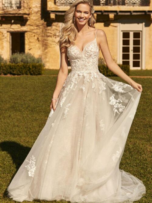 a line lace wedding dress bride in garden
