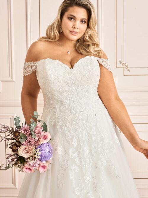 lace off the shoulder a line wedding dress