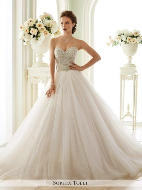 beaded full ballgown wedding dress