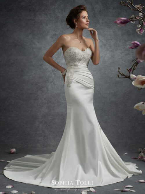 satin sexy fitted wedding dress with lace detail and corset back