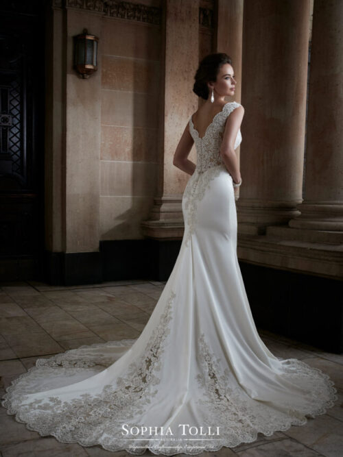 satin low back wedding dress with lace details