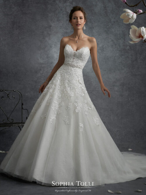 Sophia tolli lace ball gown wedding dress