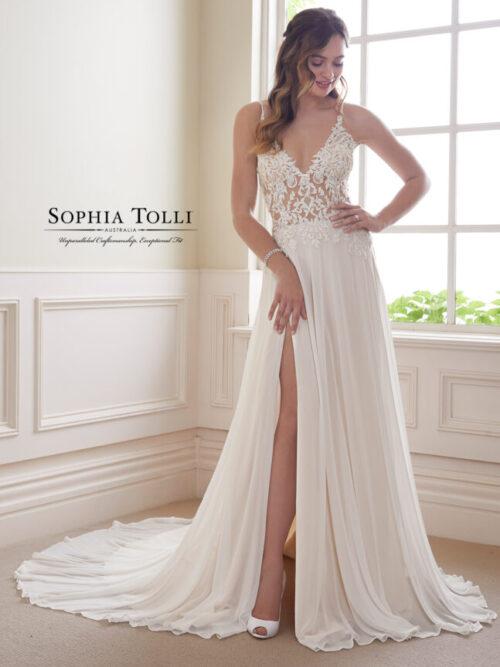 beaded lace chiffon wedding dress with slit