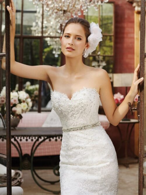 lace trumpet wedding dress with beaded belt