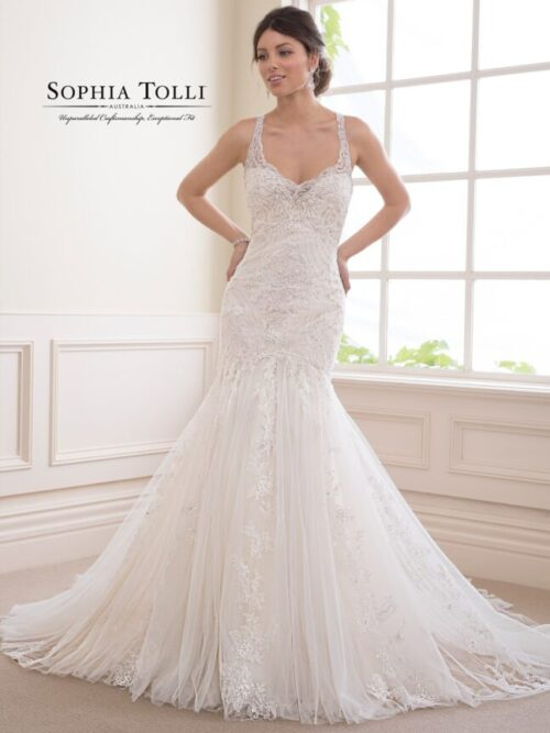 Beaded lace and tulle fitted wedding dress