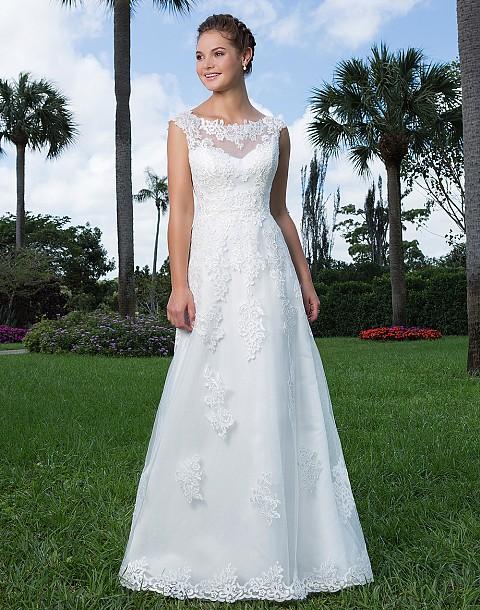 Slim A-line Lace Wedding Dress with Illusion Portrait Neckline