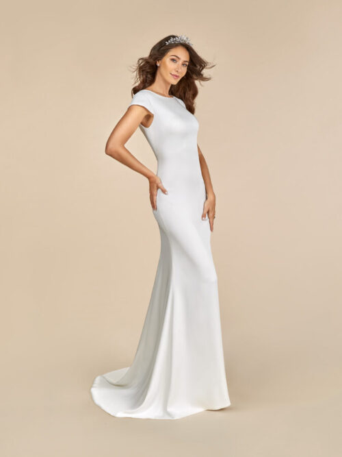 Simple Crepe Wedding Dress with Sabrina Neckline
