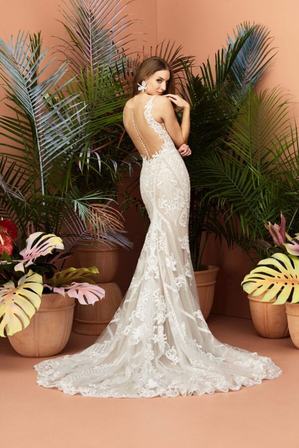 Full lace fitted sheath wedding dress