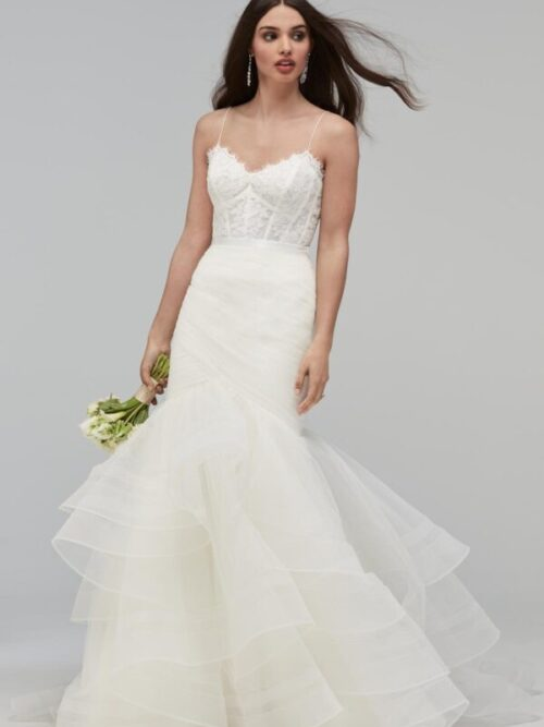 Tiered ruffle tulle and horsehair skirt