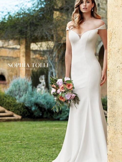 Simple and sophisticated, Simone is an elegant, ultra-comfortable stretch satin crepe gown.