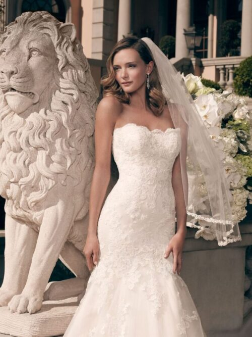 Strapless allover lace wedding dress