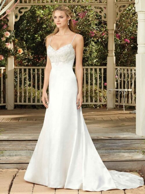 Satin, beaded empire waist wedding dress