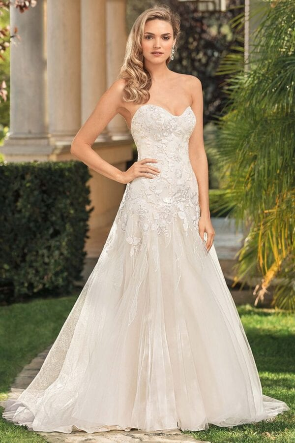 Strapless drop waist tulle and lace a-line wedding dress