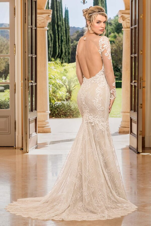 Allover lace fitted sheath long sleeve wedding dress