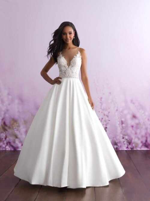 lace mikado ball gown wedding dress