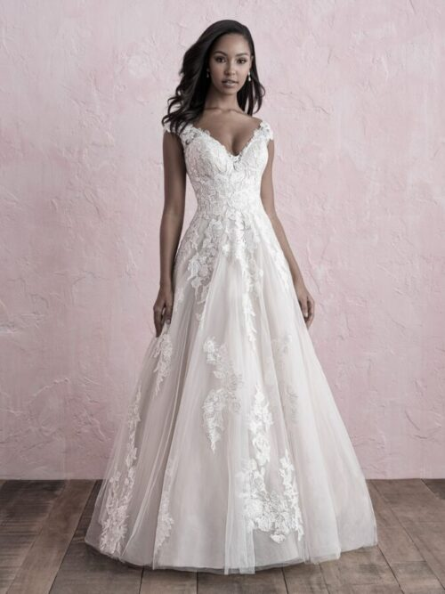 lace over tulle a-line wedding dress