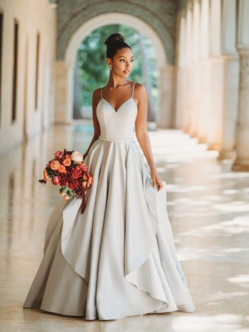 satin ball gown gorgeous hankerchief skirt wedding dress