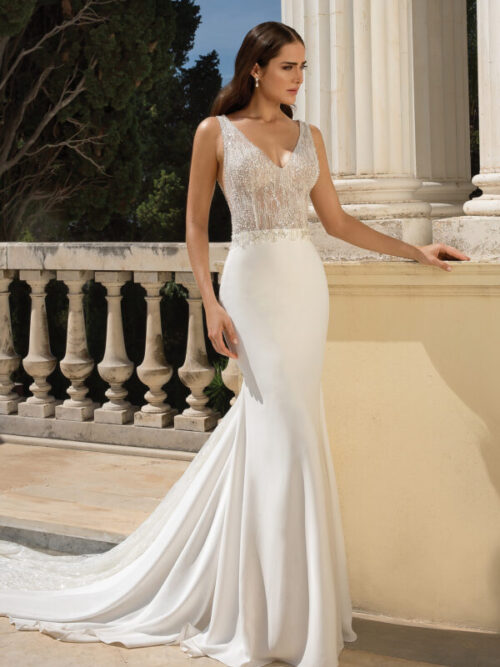 open back silk wedding dress