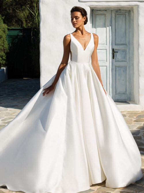 Mikado Box Pleat Ball Gown Wedding Dress