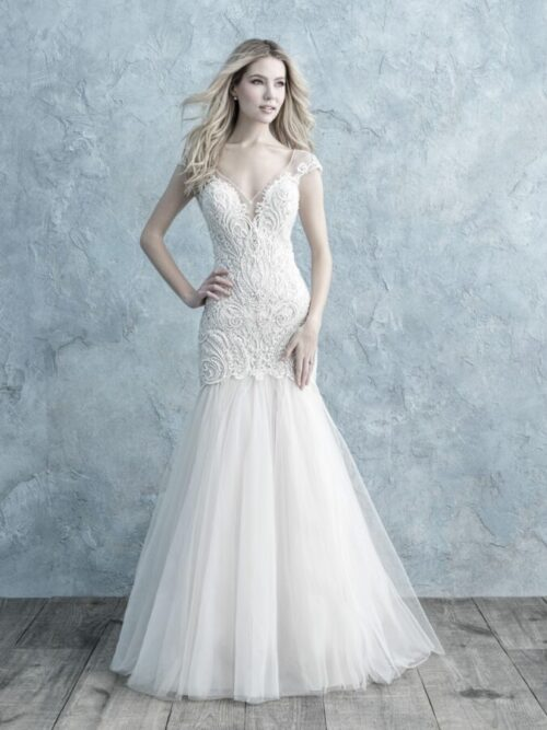 fitted beaded lace mermaid wedding dress
