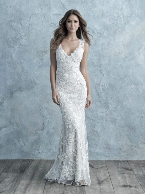 fit and flare wedding dress lace deep v neck with straps and open back